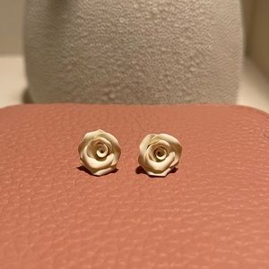 Off White Polymer Clay Rose Earring Studs